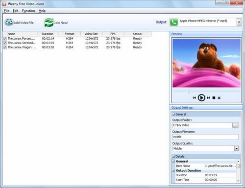 Weeny Free MP4 Video Joiner
