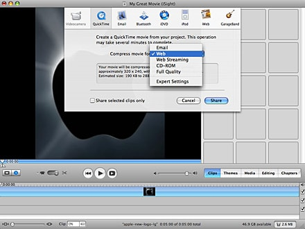 upload videos to youtube from iMovie