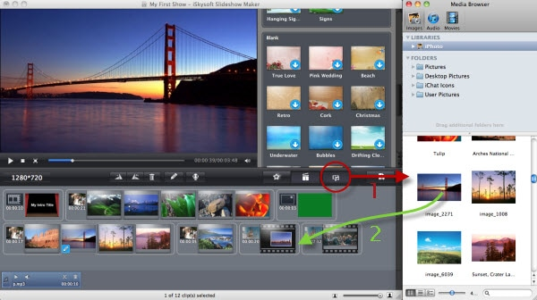 add media files to slideshow