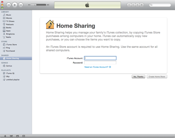 home sharing on ipad