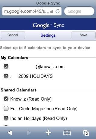 iPhone multiple calendars