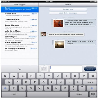 send sms from iPad