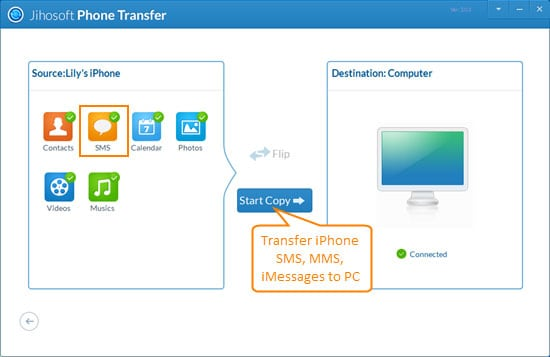 transfer sms from iphone to computer