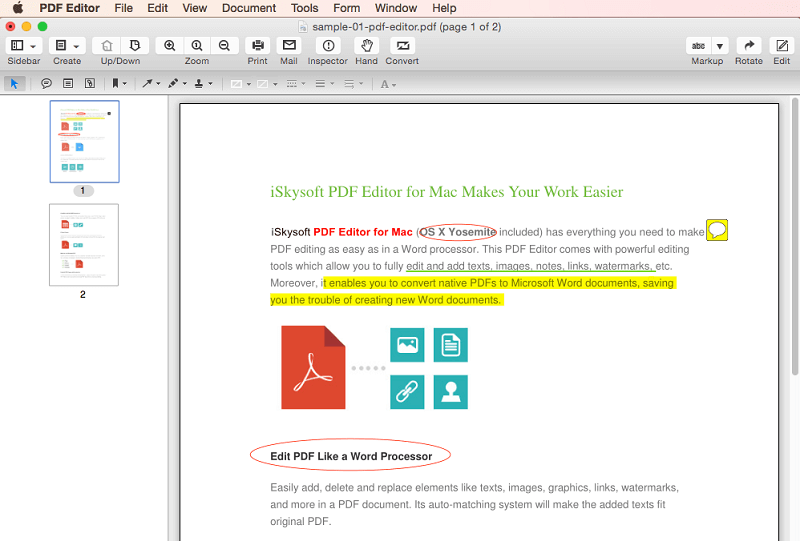 iSkysoft PDF Editor for Mac