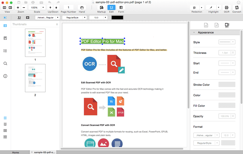 edit PDF on Yosemite