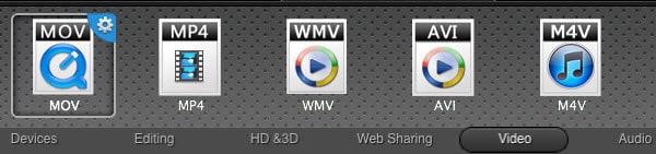 WMV movie to MP4 video converter Mac - select mp4 in the output format