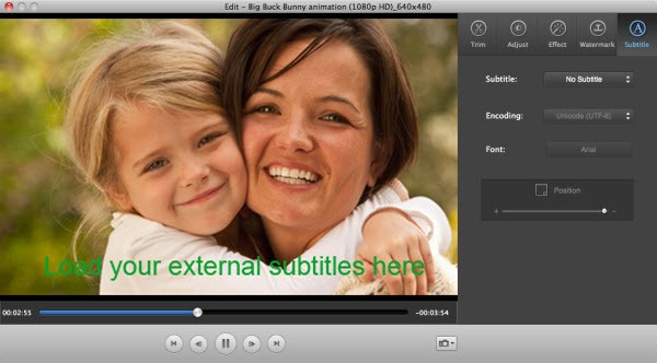 embed subtitle to video