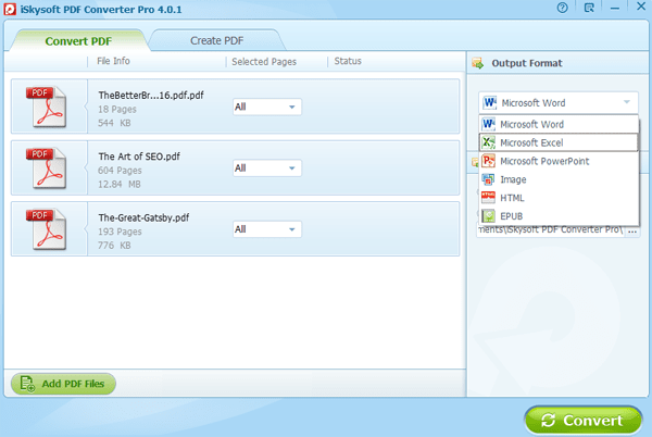 iSkysoft PDF Converter Pro for Windows Screenshot