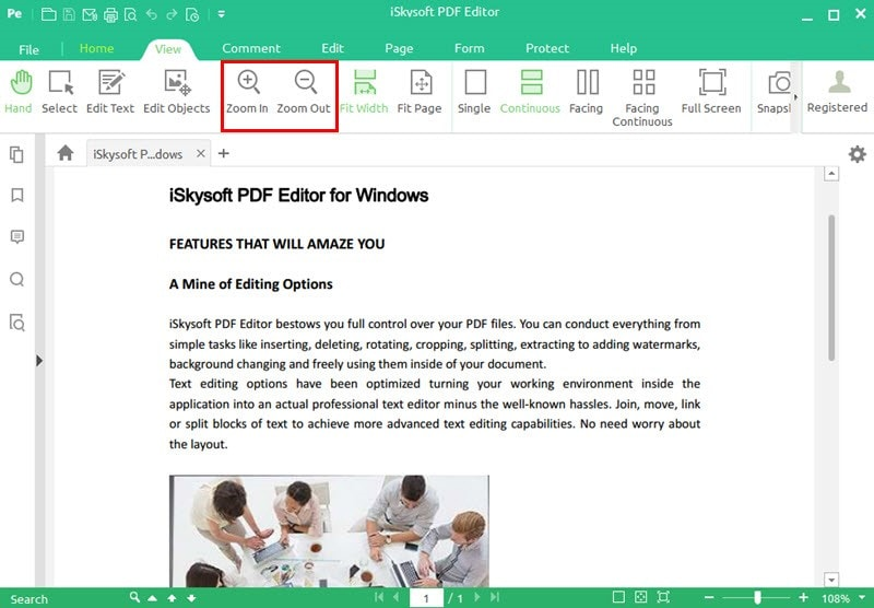 zooming in pdf