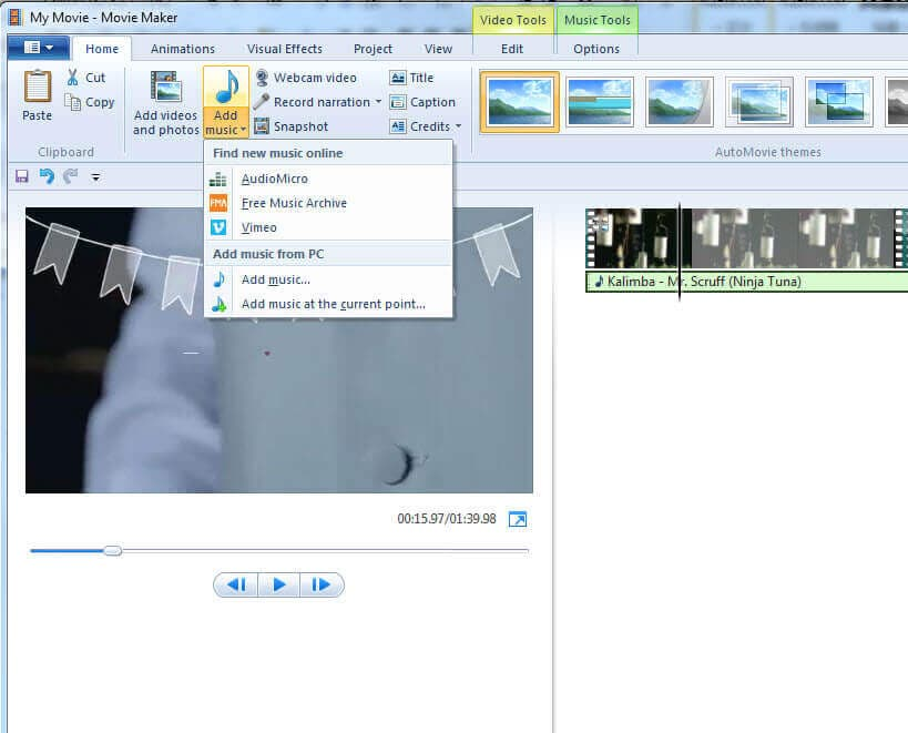 edit mp3 in windows movie maker