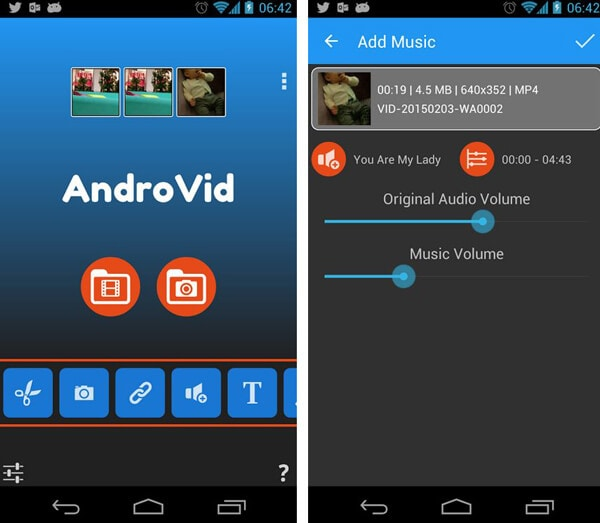 add music to video app for android