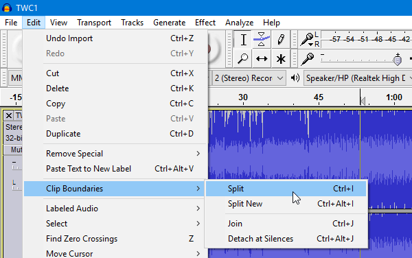 split mp3 audacity