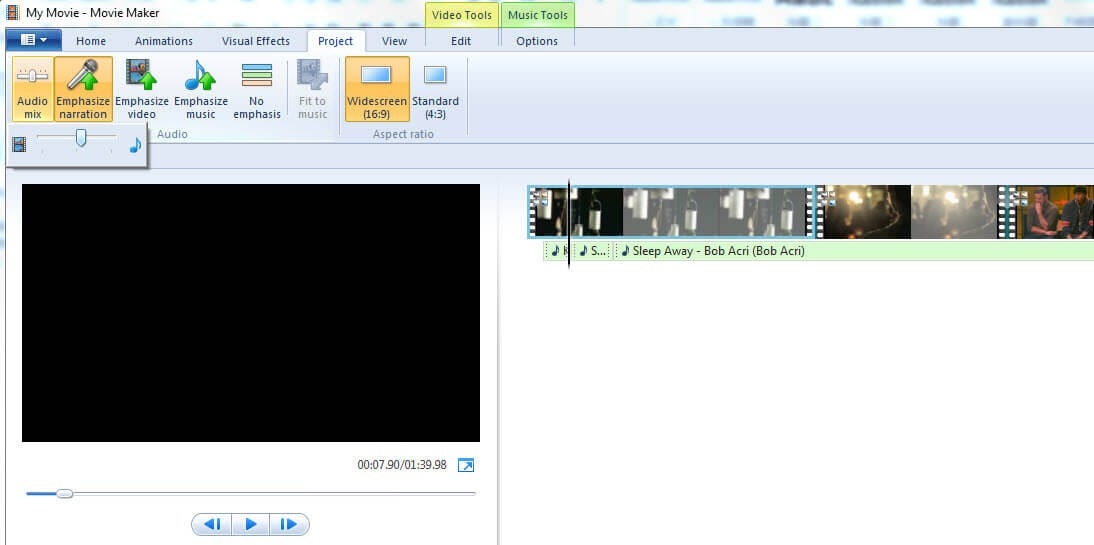 windows movie maker edit mp3