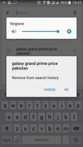 delete google history on android
