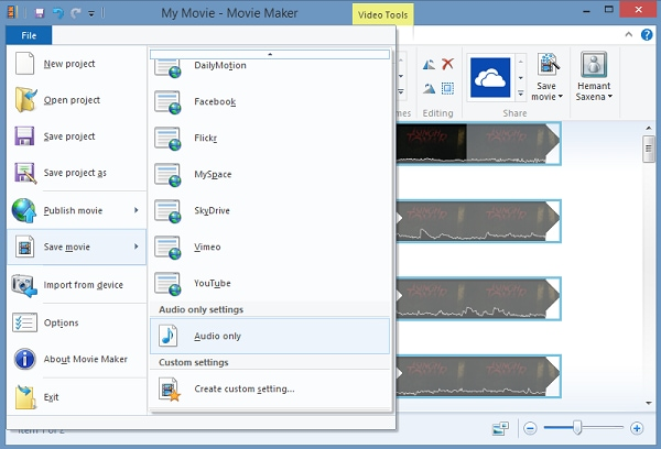 how to extract audio from video windows