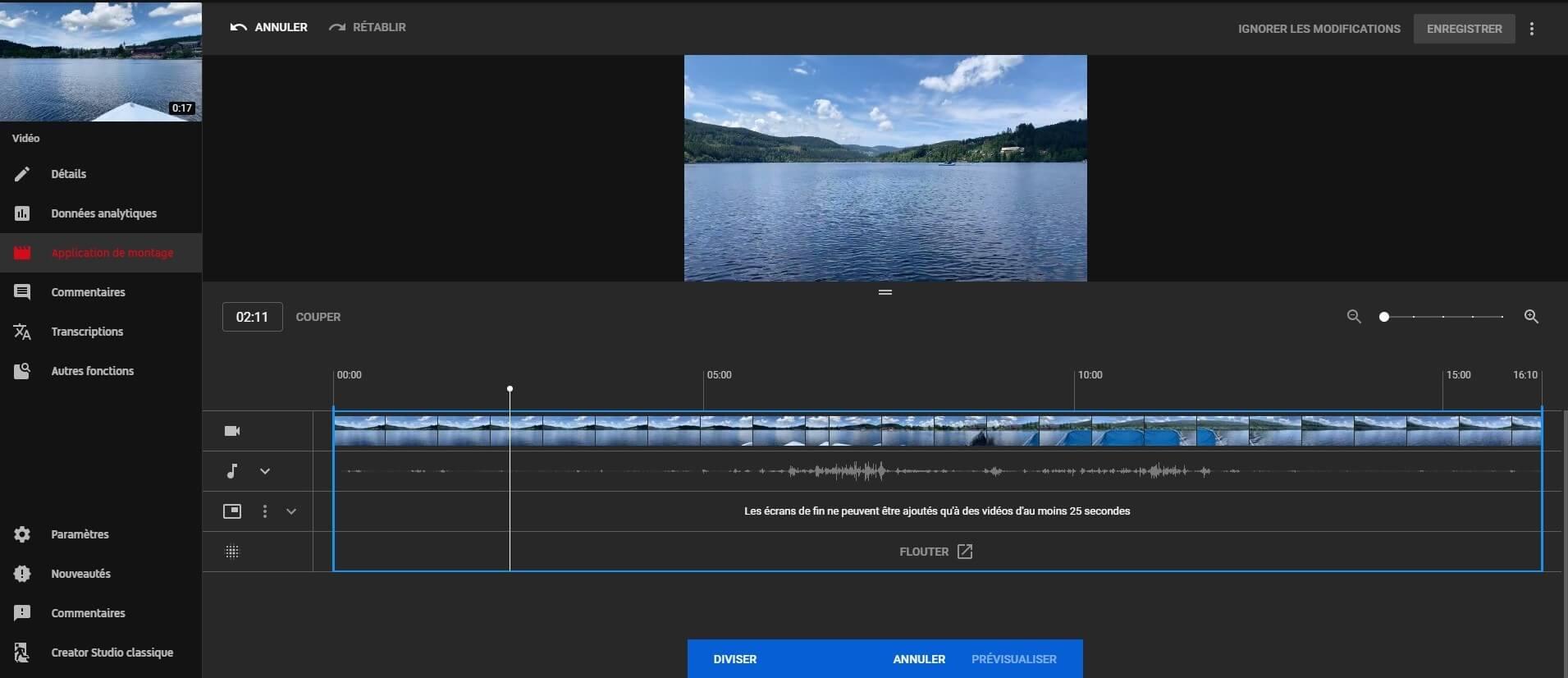 lancer le logiciel de montage pour la vidéo youtube