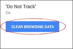 Tap on CLEAR BROWSING DATA option