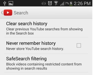 tap on the Clear search history