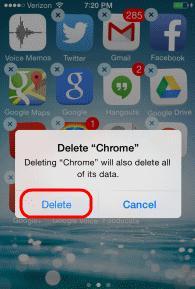 delete icons on iphone