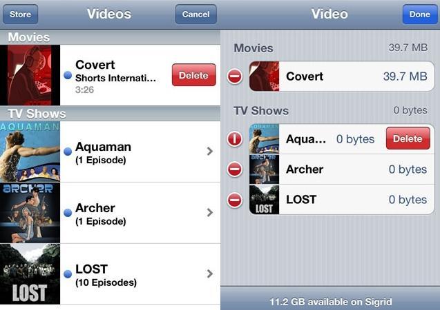 delete videos on iPad