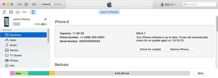 erase iphone from itunes