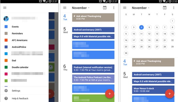 delete calendars on android