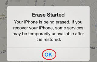 Confirming that your iPhone has been erased