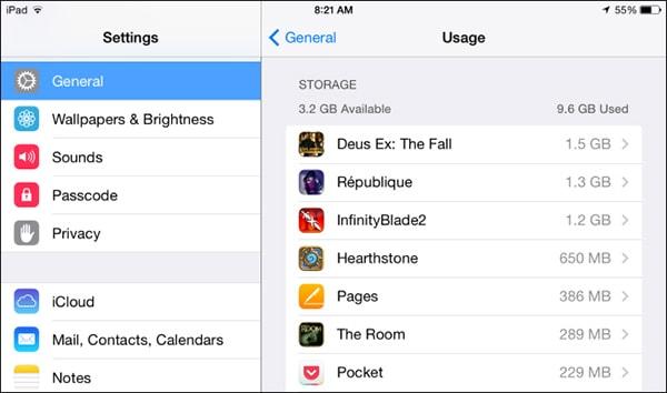 view storage usage
