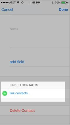 press link contacts button