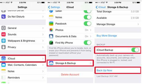 backup iphone data in icloud