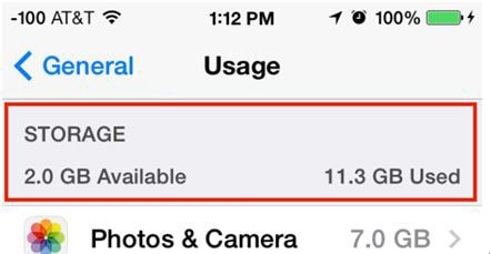 Check iPhone Internal Storage