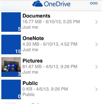 OneDrive interface