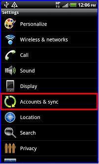 choose account & sync