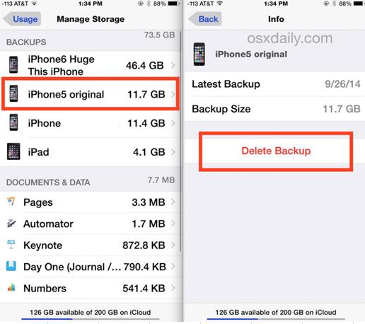 remove iphone backup from icloud