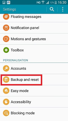 find Backup and Reset