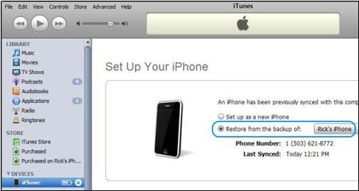 wipe iphone on itunes