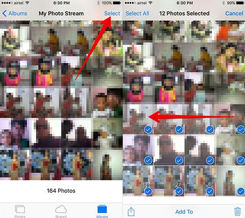 select all photos on iphone