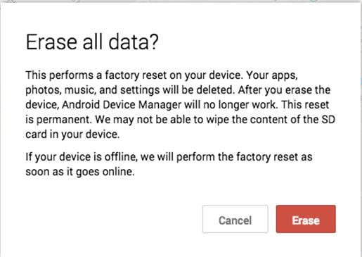 erase stolen Android phone google account