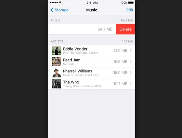 Delete music depending on your device