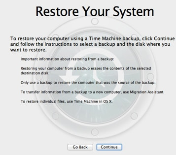 restore mac system from time machine