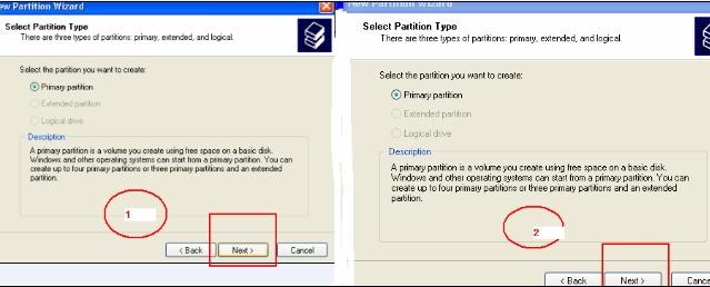 windows xp create partition