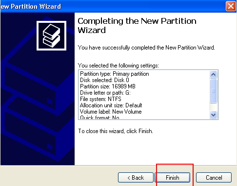 create partition on windows xp
