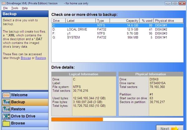DriveImage XML