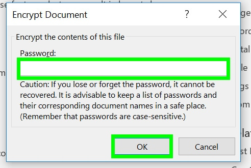 how to encrypt a word file