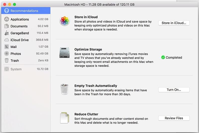 save space on macOS high sierra