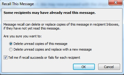 recover a sent email in outlook