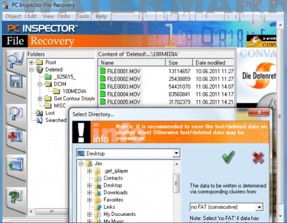 recover file using pc inspector