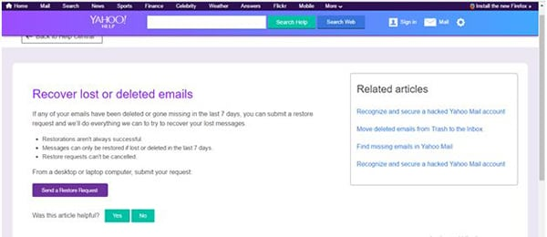 recover deleted emails from yahoo