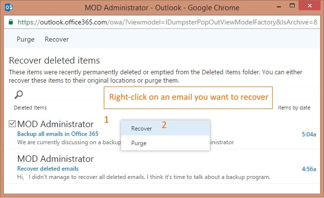 recover deleted emails in office 365