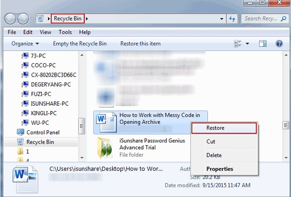 recover lost document from recycle bin